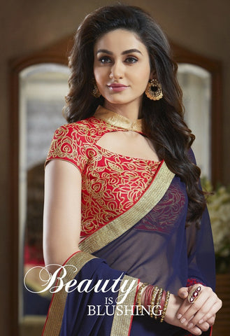 Fancy blue and red pure georgette saree with embroidery