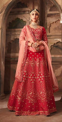 Red Silk Party Wear Lehenga With Pink Dupatta