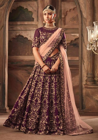 Purple Georgette Party Wear Lehenga With Pink Dupatta