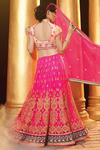Pink,Net,heavy designer lehenga with heavy embroidery work