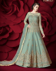 Blue Net Party Wear  Anarkali Dress With Blue Dupatta