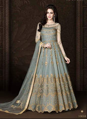 Grey Net Heavy Anarkali With Grey Dupatta