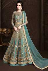 Turquoise Net Heavy Anarkali Suit With Turquoise Dupatta