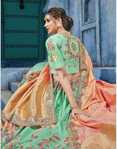 Seagreen Silk Party Wear  Lehenga With Orange Dupatta