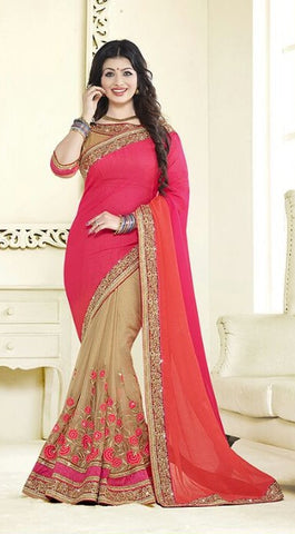 Pink , beige,Chiffon,heavy designer party wear saree