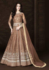 Brown Net Heavy Anarkali Suit With Brown Dupatta