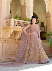 Lavender Net Party Wear Anarkali Dress With Lavender Dupatta