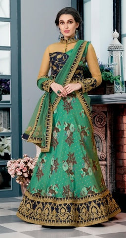 Green Silk Partywear Lehenga With Black Choli And Green Dupatta