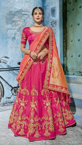 Pink Silk Party Wear  Lehenga With Orange Dupatta