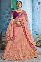Peach Silk Party Wear  Lehenga With Peach Dupatta