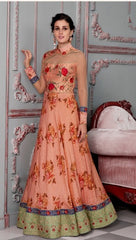 Peach Silk Partywear Lehenga With Peach Choli And Peach Dupatta