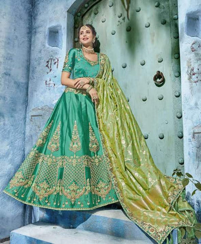 Aqua Silk Party Wear  Lehenga With Green Dupatta