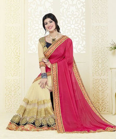 Pink , white,Chiffon,heavy designer party wear saree