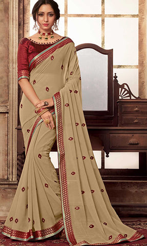 Beige Georgette Party Wear Saree With Maroon Blouse