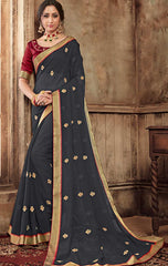 Grey Georgette Party Wear Saree With Maroon Blouse