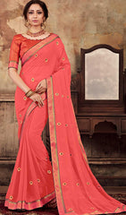 Peach Georgette Party Wear Saree With Orange Blouse