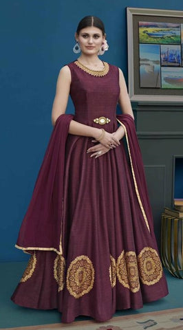Wine Silk Party Wear Anarkali Dress With Wine Dupatta