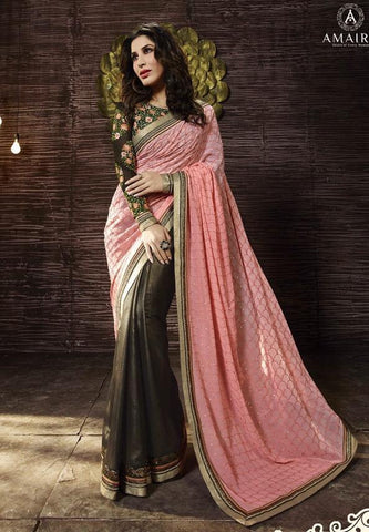 Peach,Shimmer Georgette,Designer saree party wear saree with heavy work