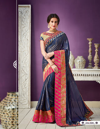 Navy Blue Georgette Party Wear  Saree With Blouse
