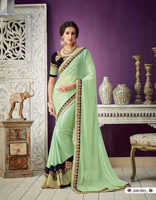 Lime Green Georgette Party Wear  Saree With Blouse