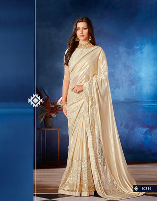 Off-White Lycra Party Wear Saree With Blouse