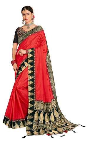Red Poly Silk Party Wear Saree With Black Blouse