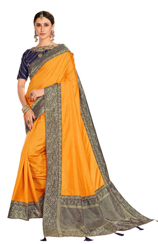 Yellow Poly Silk Party Wear Saree With Blue Blouse