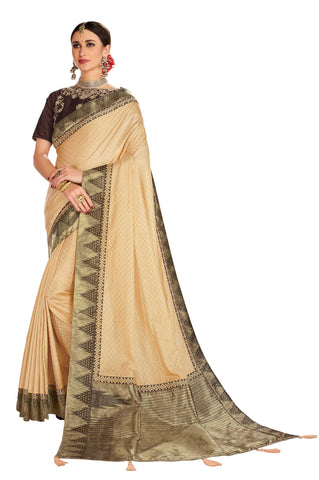 Gold Poly Silk Party Wear Saree With Coffee Blouse