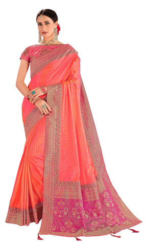 Pink Poly Silk Party Wear Saree With Pink Blouse