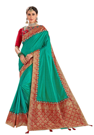 Green Poly Silk Party Wear Saree With Red Blouse