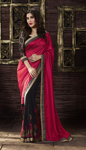 Pink,Georgette,Designer saree party wear saree with heavy work