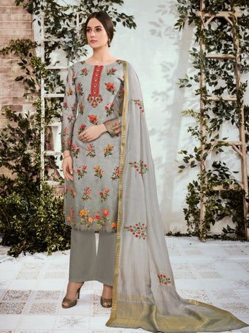 Grey Cotton Satin Partywear Suit With  Dupatta