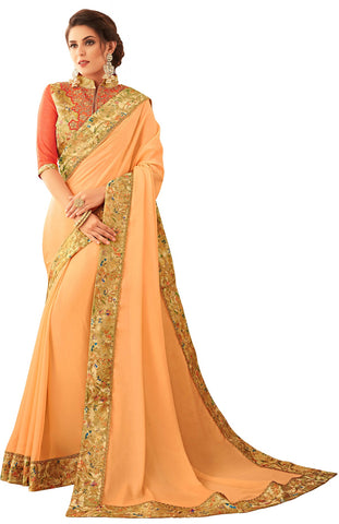 Beige Georgette Casual Wear Saree With Blouse