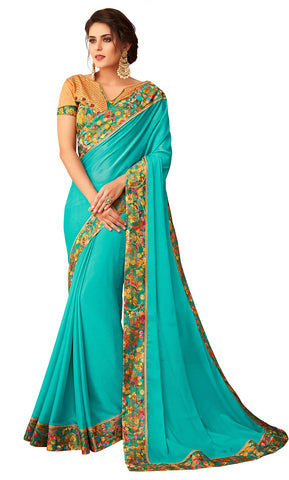 Aqua Blue Georgette Casual Wear Saree With Blouse