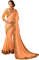 Peach Georgette Casual Wear Saree With Blouse
