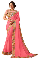 Pink Georgette Casual Wear Saree With Blouse