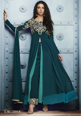 Greenish Blue  Golden Embroidery Slit Type Anarkali With Dupatta