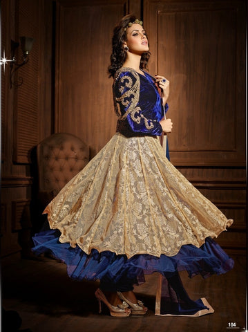 Anarkali suits Blue,Viscose,Net