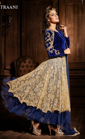 Long blue and beige designer long anarkali with work