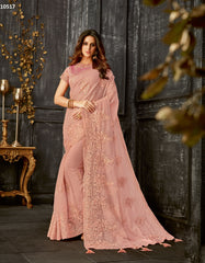 Pink Tissue Party Wear Saree With Pink Blouse