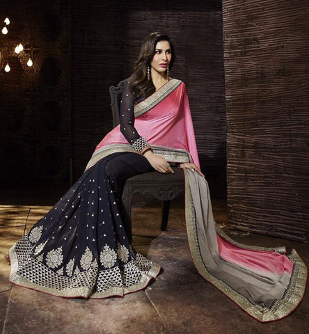 Navy,Georgette,Jacquard,Designer saree party wear saree with heavy work