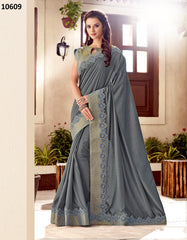 Grey Silk Party Wear Saree With Grey-Gold Blouse