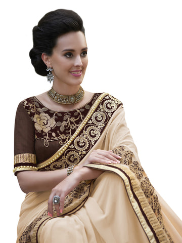 Offwhite,Georgette,Party wear designer saree with designer blouse