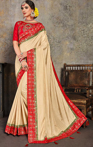 Beige  Poly Silk Party Wear Saree With Red Blouse