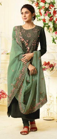Dark Green Silk Party Wear  Suit With  Dupatta