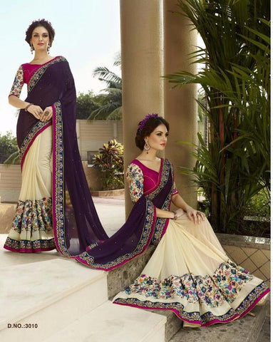 Red  ,Georgette,Buy designer georgette saree with embroidery work