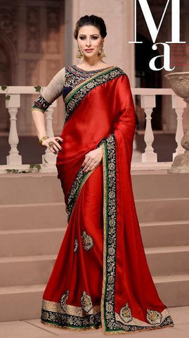 Saree Red,Satan chiffon