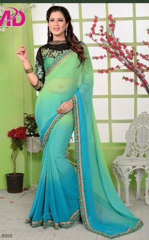 Cyan,Georgette,Designer party wear saree with designer blouse
