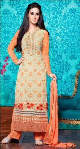 Orange  ,Georgette,Designer suits,suits,party wear,salwar suits,wedding ,heavy suits,vipul