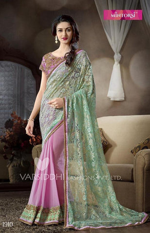 Saree Green , Pink,Bhagalpuri silk